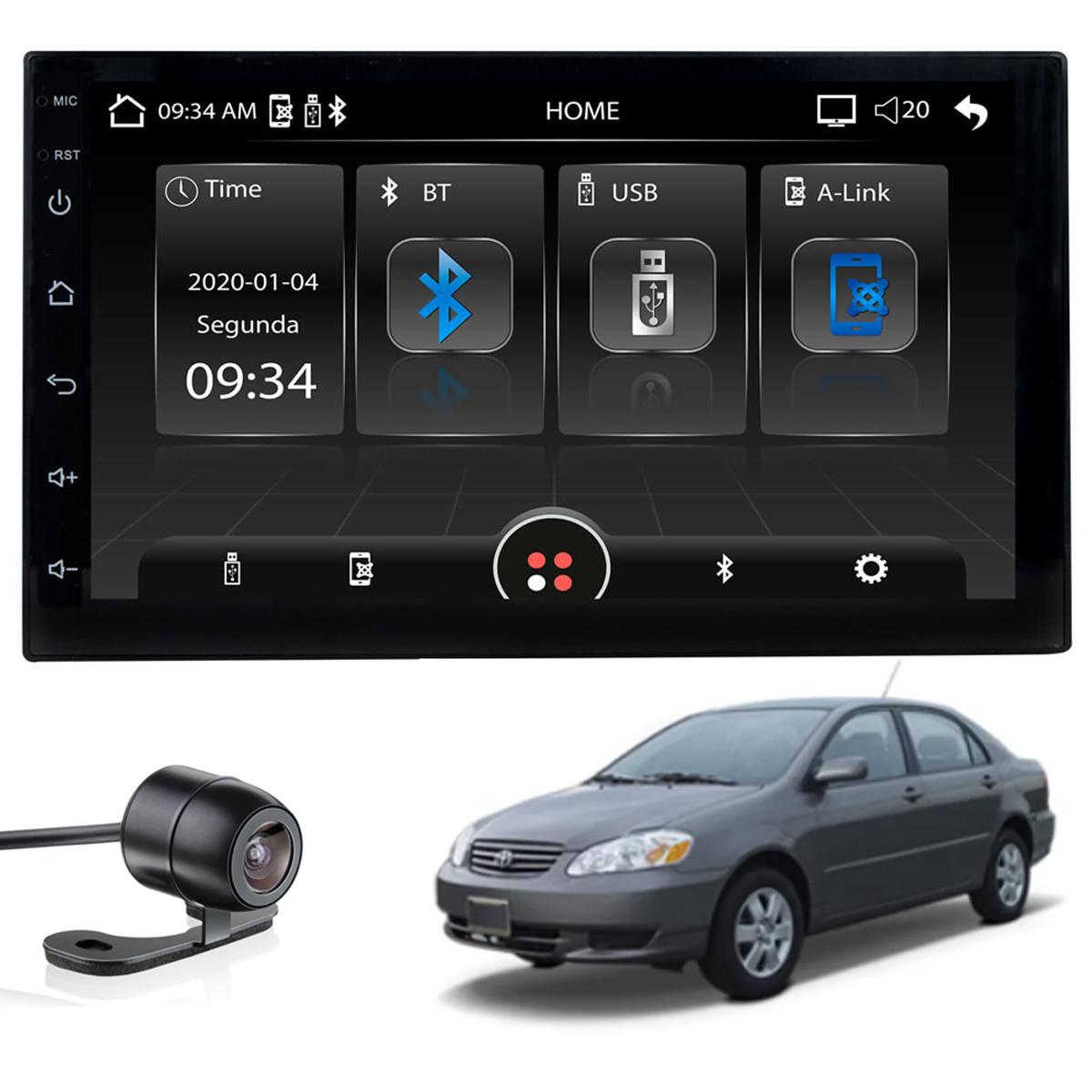 Central Multimídia MP5 Corolla 2003 2004 2005 2006 2007 2008 Bluetooth Usb Espelhamento Android IOS Câmera de ré