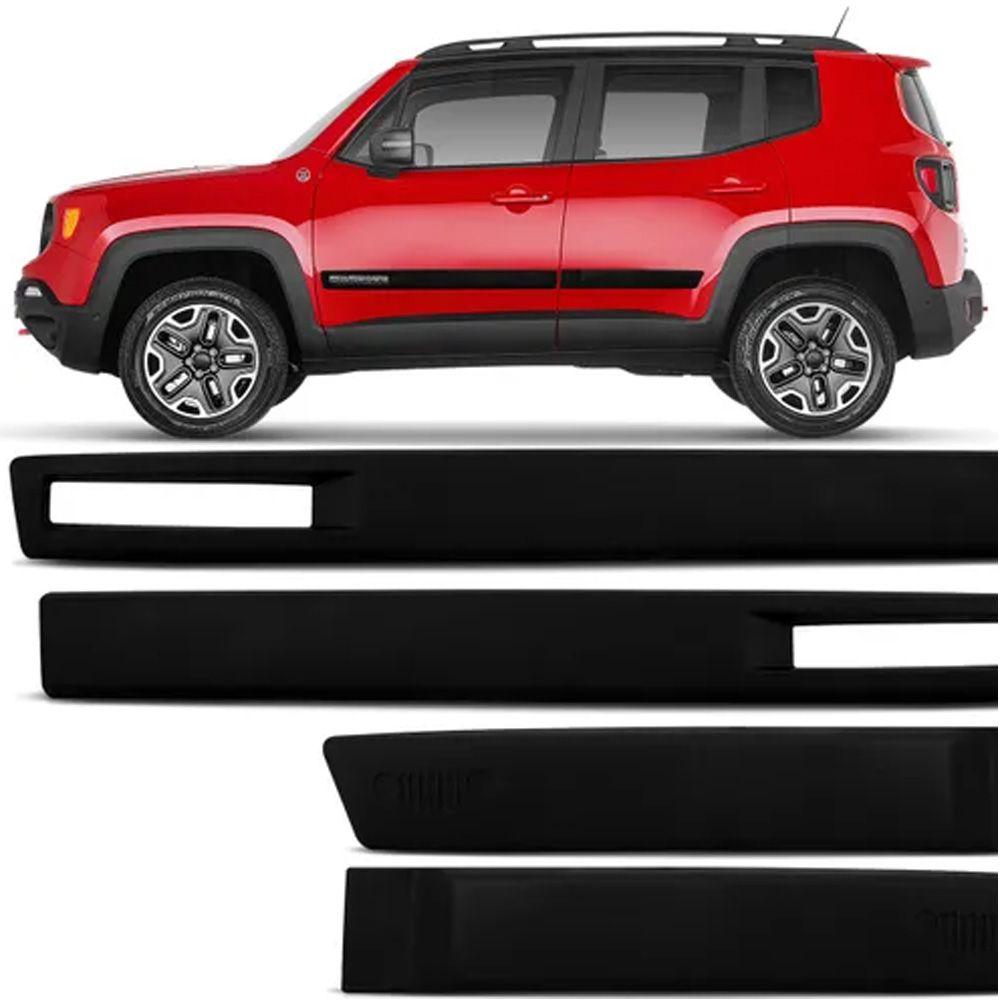 Jogo de Friso Lateral Jeep Renegade 2015 a 2020 Preto Modelo Original Com recorte