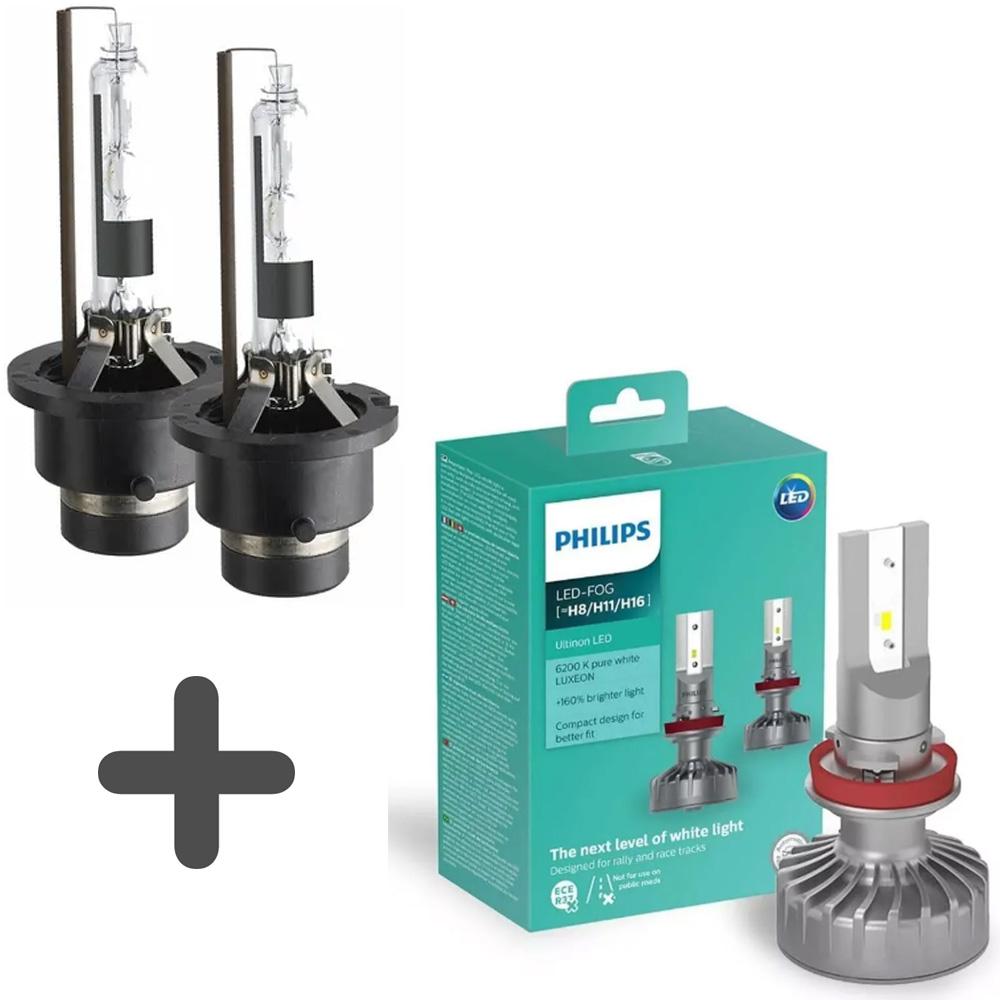 Kit Par de Lâmpadas Xenon D4s 5500K Farol Baixo + Led Philips H11 Farol Milha Pajero Full