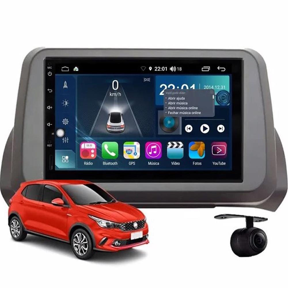 Multimídia Argo todos os anos sem radio Tela 7''Atom Core CarPlay Android Auto Gps Câmera de ré e Frontal TV Digital 2GB