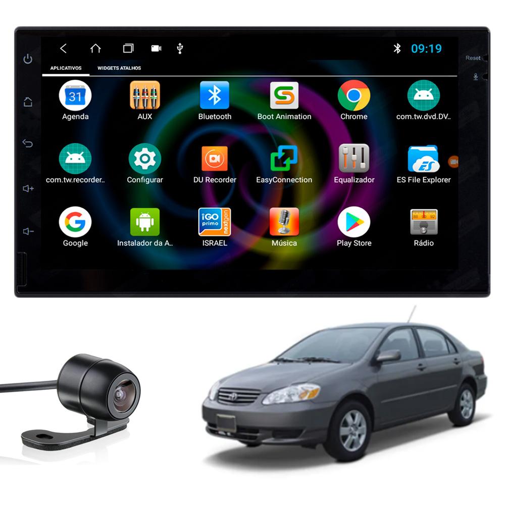Multimídia Corolla 2003 2004 2005 2006 2007 2008 Tela 7'' Android Gps Câmera de ré TV Digital 1GB Aikon