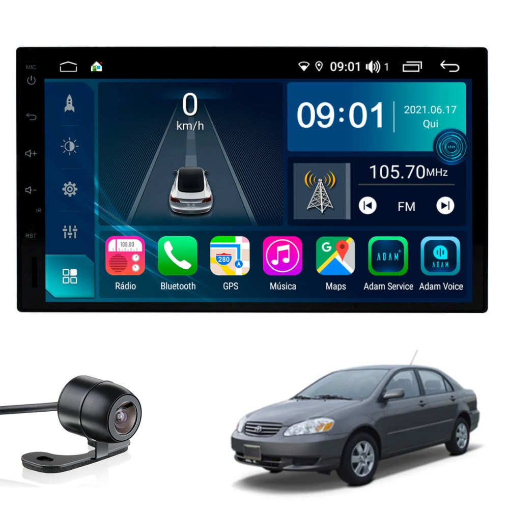Multimídia Corolla 2003 2004 2005 2006 2007 2008 Tela 7'' Atom Core CarPlay Android Auto Gps Câmera de ré e Frontal TV Digital 2GB