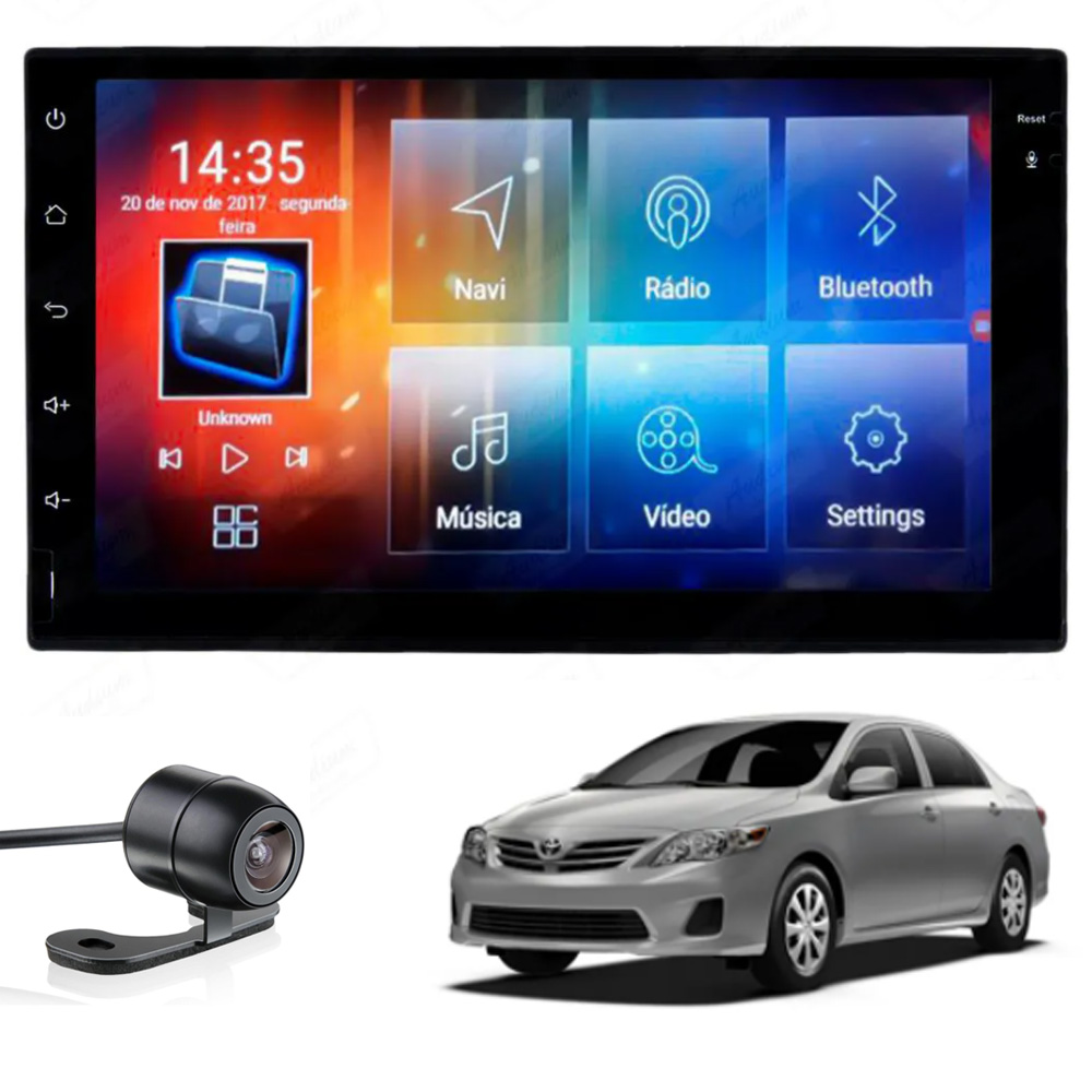 Multimídia Corolla 2009 2010 2011 2012 2013 2014 Tela 7'' Android Gps Câmera de ré TV 2GB Aikon