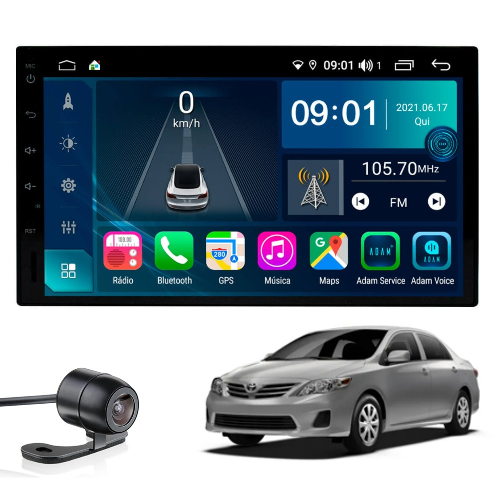 Multimídia Corolla 2009 2010 2011 2012 2013 2014 Tela 7'' Atom Core CarPlay Android Auto Gps Câmera de ré e Frontal TV Digital 2GB