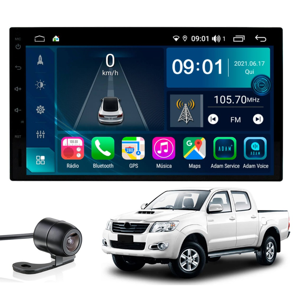 Multimídia Hilux 2006 2007 2008 2009 2010 Tela 7'' Atom Core CarPlay+ Android Auto Gps Câmera de ré e Frontal TV Digital 2GB Aikon