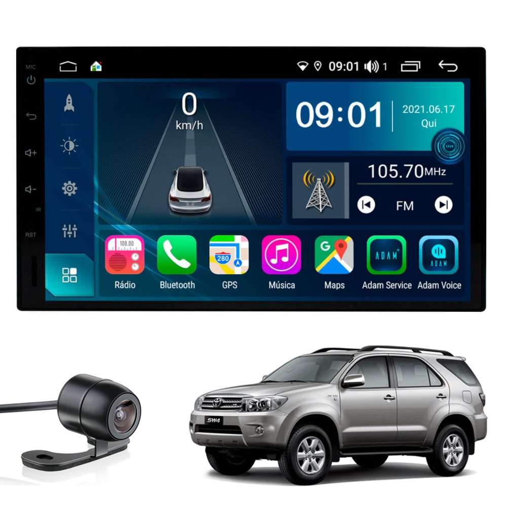 Multimídia Hilux SW4 2006 2007 2008 2009 2010 Tela 7'' Atom Core CarPlay Android Auto Gps Câmera de ré e Frontal TV Digital 2GB