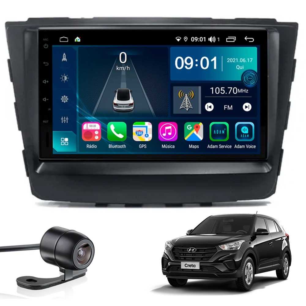 Multimídia Hyundai Creta Tela 7'' Atom Core CarPlay+ Android Auto Gps Câmera de ré e Frontal Sem TV 2GB Aikon