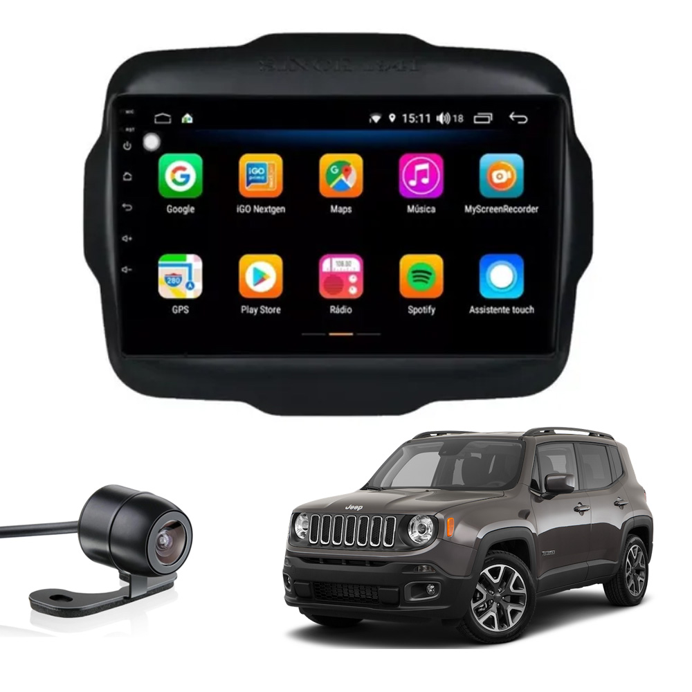 Multimídia Jeep Renegade PCD e Standard Aikon Atom Basic Two Tela de 9
