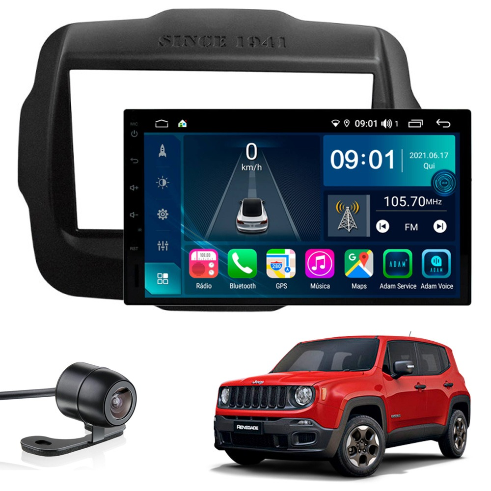 Multimídia Jeep Renegade PCD e Standard Tela 7''Aikon Atom Core CarPlay Android Auto Gps Câmera de ré e frontal TV Digital 2GB
