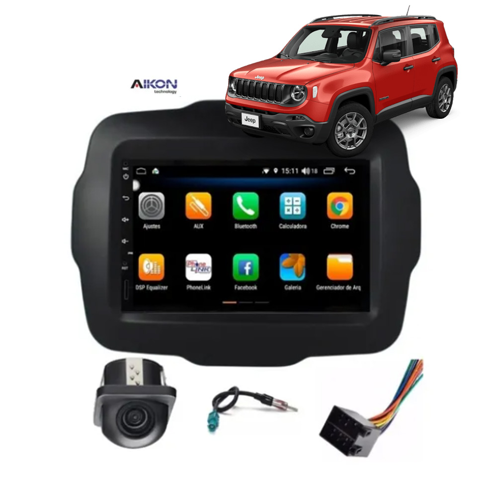 Multimídia Jeep Renegade PCD e Standard Tela 7'' Android 8.1 Gps Câmera de ré TV Digital 1GB Aikon