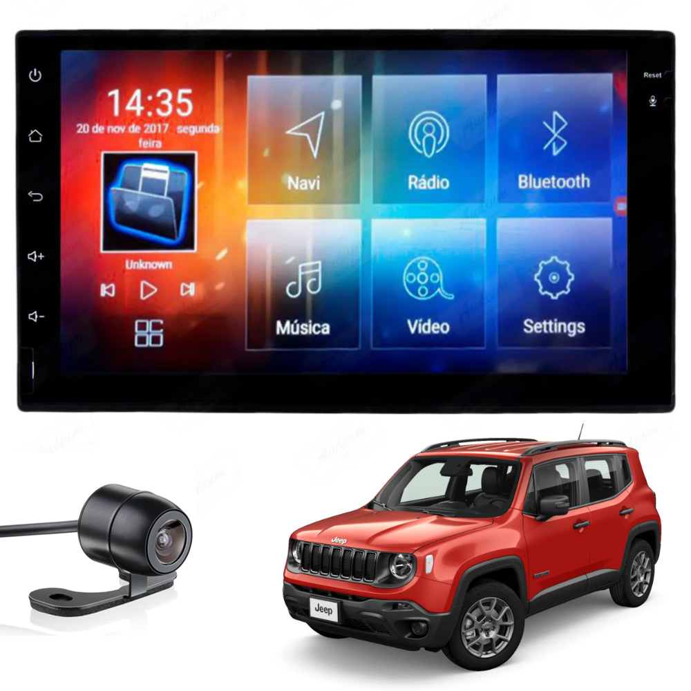 Multimídia Jeep Renegade PCD e Standard Tela 7'' Android Gps Câmera de ré TV 2GB Aikon