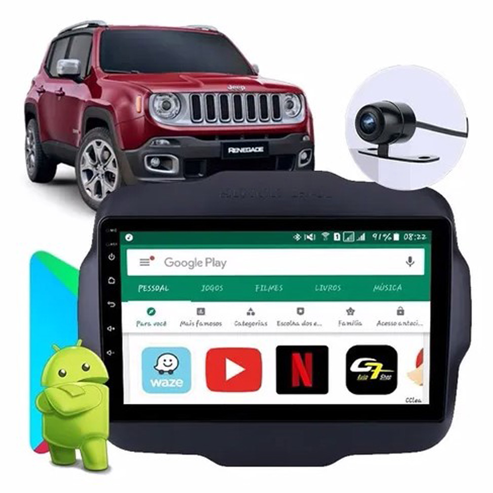 Multimídia Twincan Jeep Renegade PCD e Standard Tela de 9