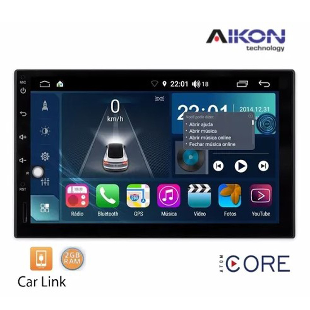 Multimídia Universal Aikon Tela 7'' Atom Core CarPlay Android Auto Gps Câmera de ré e Frontal TV Digital 2GB