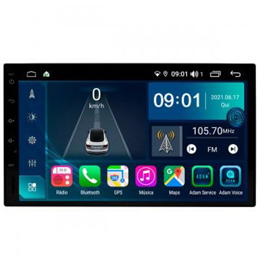 Multimídia Universal Tela 7'' Atom Core CarPlay+ Android Auto Gps Câmera de ré e Frontal Sem TV 2GB Aikon