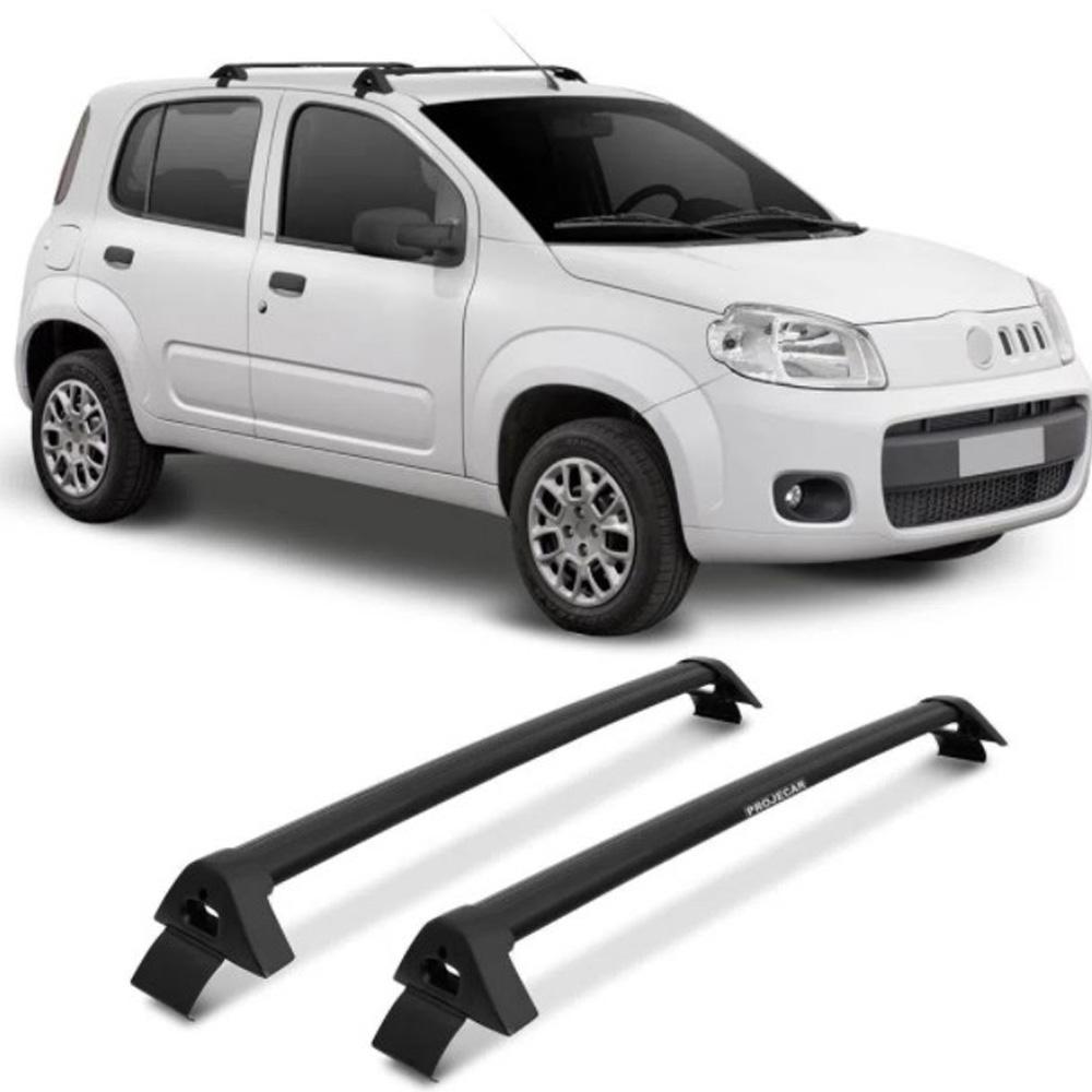 Rack de Teto Bagageiro Fiat Uno Vivace 4 portas Preto Suporta 45KG Projecar