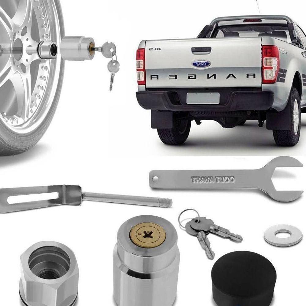 Trava Protetor Estepe Ford Ranger 2013 a 2021 Antifurto com chave tetra