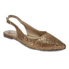 835bf90afc Sapato Disalt Salto Quadrado Verniz Nude · Sapatilha Bico Fino Ana Cristina  Bronze com Gliter