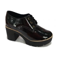 c90a52d049 Sapato Oxford Salto Tratorado Requinte Verniz Preto