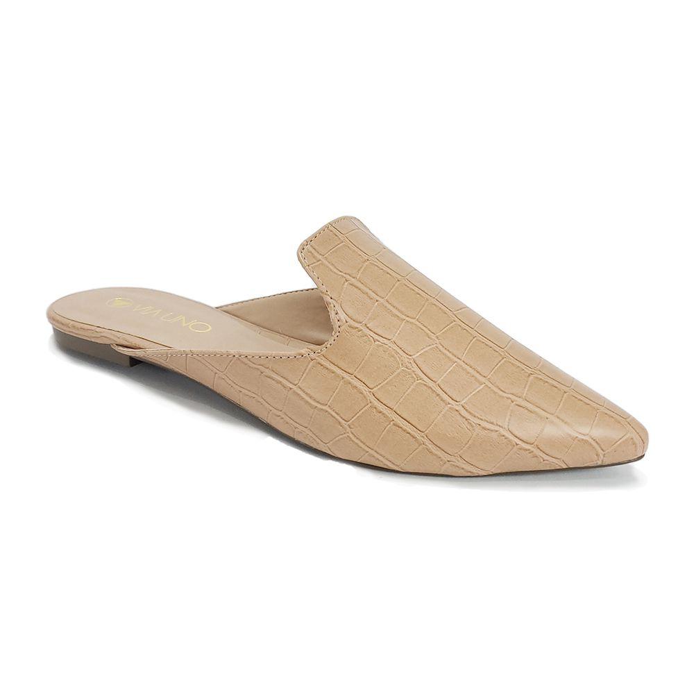 1ccad23df Mule Bico Fico VIA UNO R:116125S Croco Nude - Disalt Calçados ...