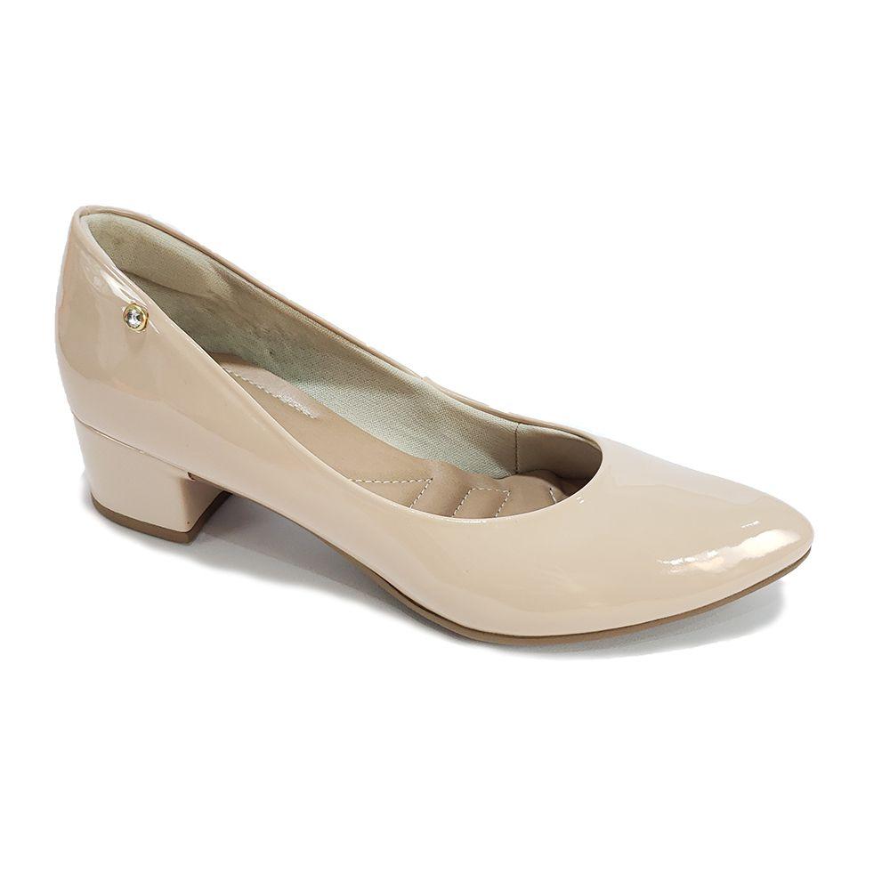 4456ec18e2 Sapato Disalt Salto Quadrado Verniz Nude - Scarpin