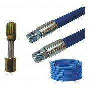 Mangueira Lava Rápido Jato Car Azul Lavadora Alta Pressão 20m Conexão 1/2 Prensado Com Esguicho Metal 3,2mm