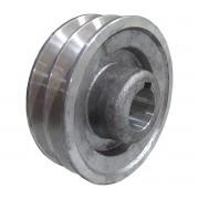 "Polia De Aluminio 100mm Motor Furo 3/4"" 19mm 2 Canal A Chaveta"