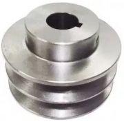 Polia De Aluminio 80mm 2 Canais Furo 19,05mm Chavetada
