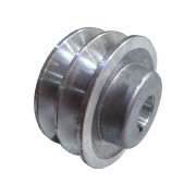 "Polia De Aluminio 80mm Furo 3/4"" 19mm 2 Canal A Chaveta"