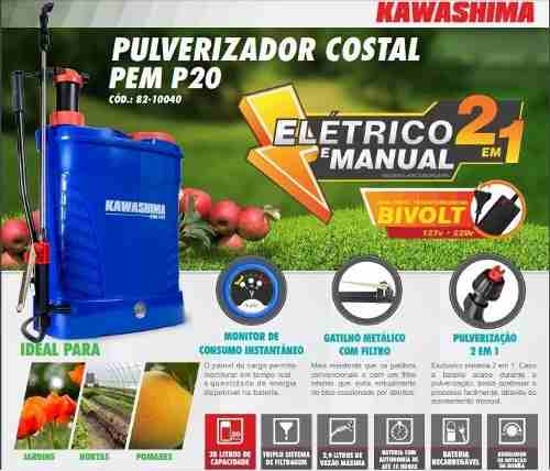 Pulverizador Costal 2 Em 1 Elétrico Manual Kawashima 20l 2pç