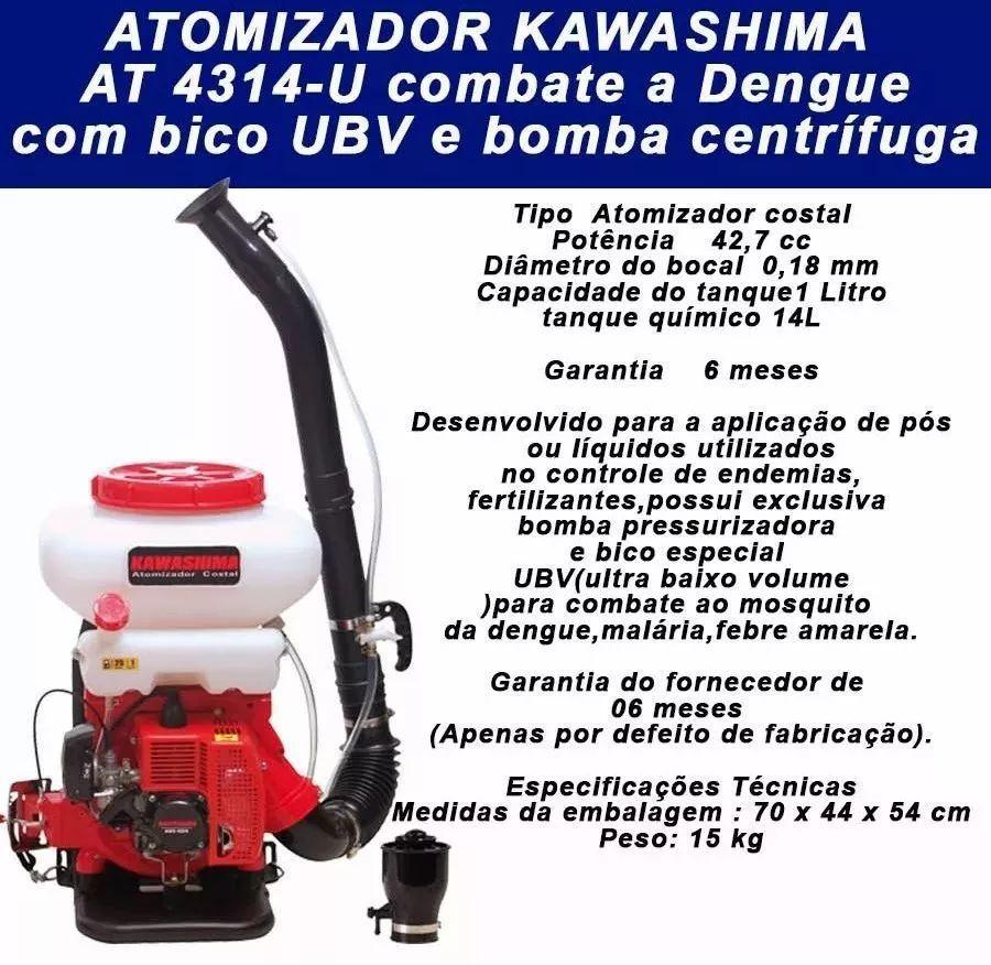Atomizador Costal Pó Liquido Motorizado 41,5cc Kawashima Ubv