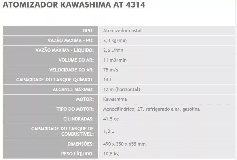 Atomizador Kawashima Kws-4314 Costal Pó Líquido 41,5cc 14lts