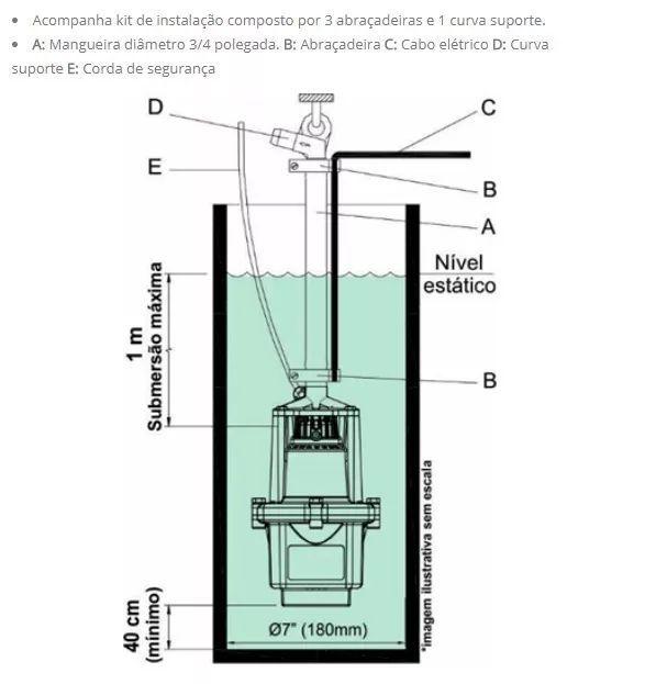 Bomba Aguá Submersa Anauger 800 5g 3/4 380w 220v Mod Novo