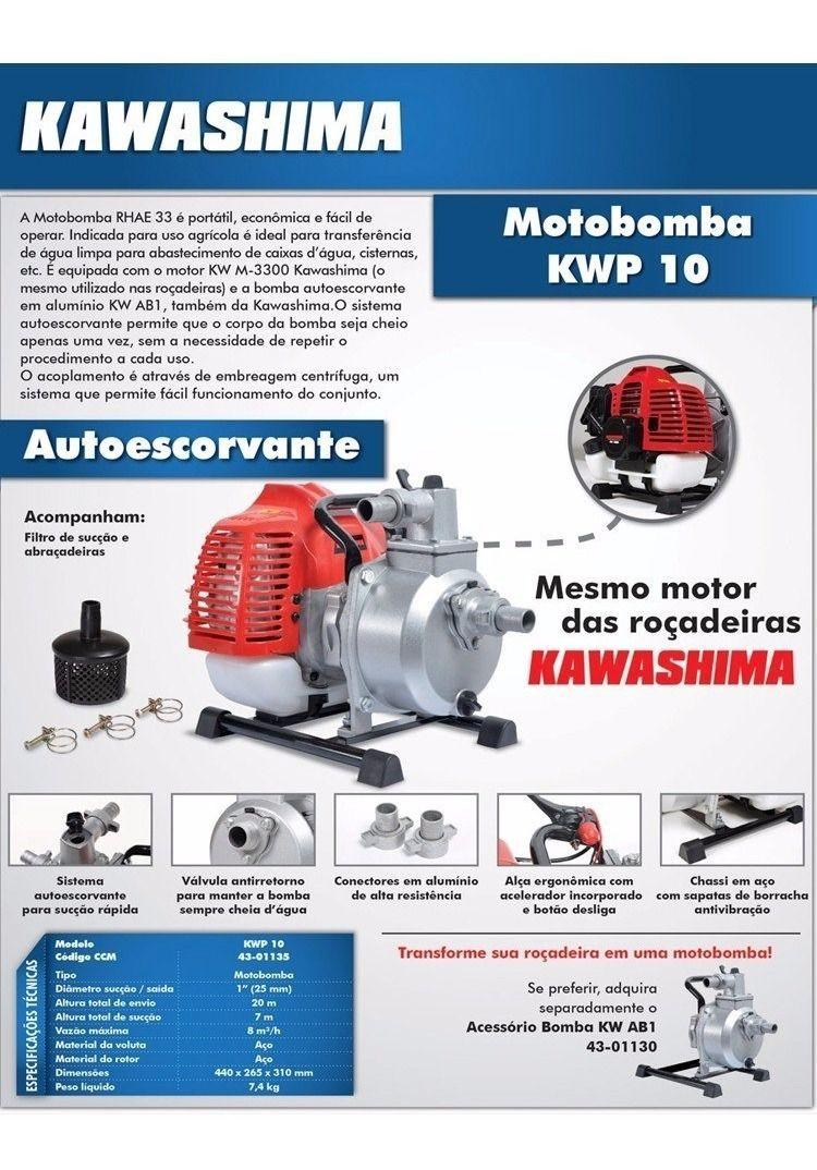 Bomba de Agua MotoBomba a Gasolina Auto Escorvante 32,6cc Kwp10  Kawashima