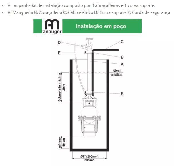 Bomba Submersa Anauger Ecco 300w 110v Vibratoria Poço