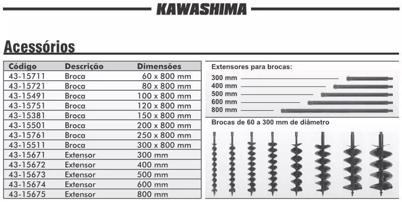 Broca Para Perfurador Solo Kawashima 20 X 80cm Espiral Duplo