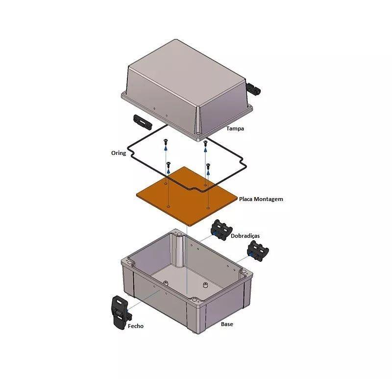 Caixa Plástica Opaca Com Dobradiça Ip65 200x140x140mm