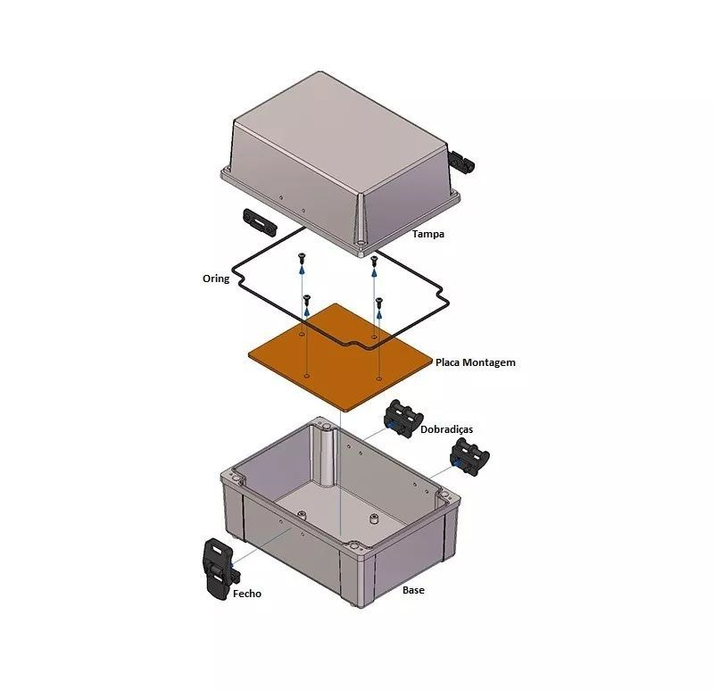 Caixa Plástica Opaca Com Dobradiça Ip65 200x140x90mm