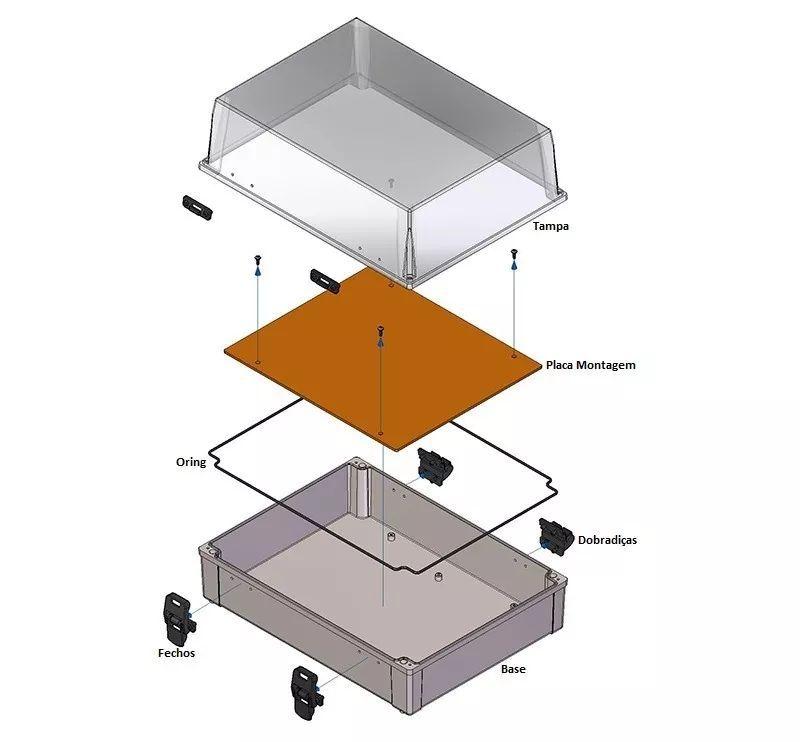Caixa Plástica Transparente Com Dobradiça Ip65 350x260x170mm
