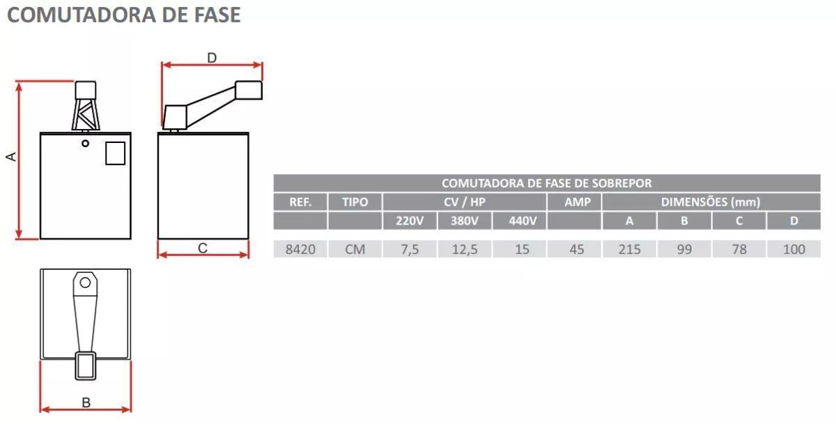 Chave De Transferência Gerador 45a Cm8420 Lombard Industrial