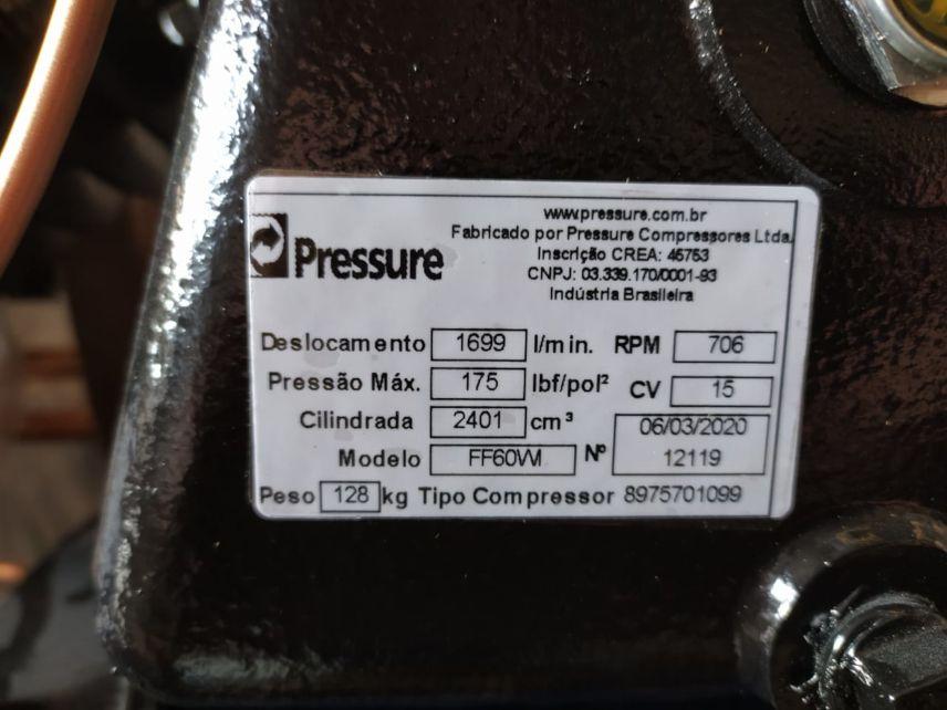 Compressor de Ar 60 Pés 175 PSI 425 Litros 15 HP Trifásico 220/380V Super Ar Pressure