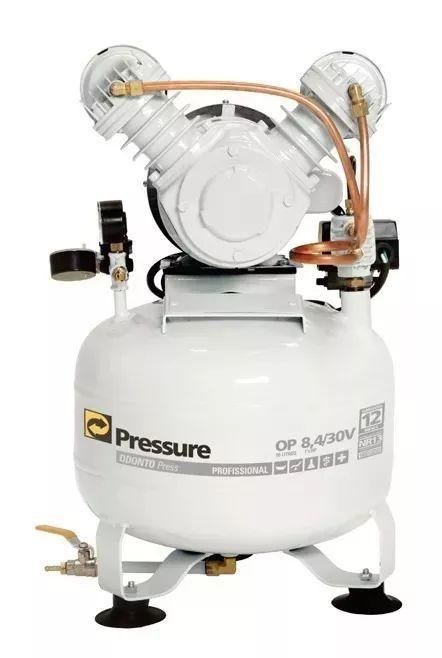 Compressor de Ar Odontológico 8,4 Pés30L 1CV 110/220V Pressure Nacional Alta Durabilidade