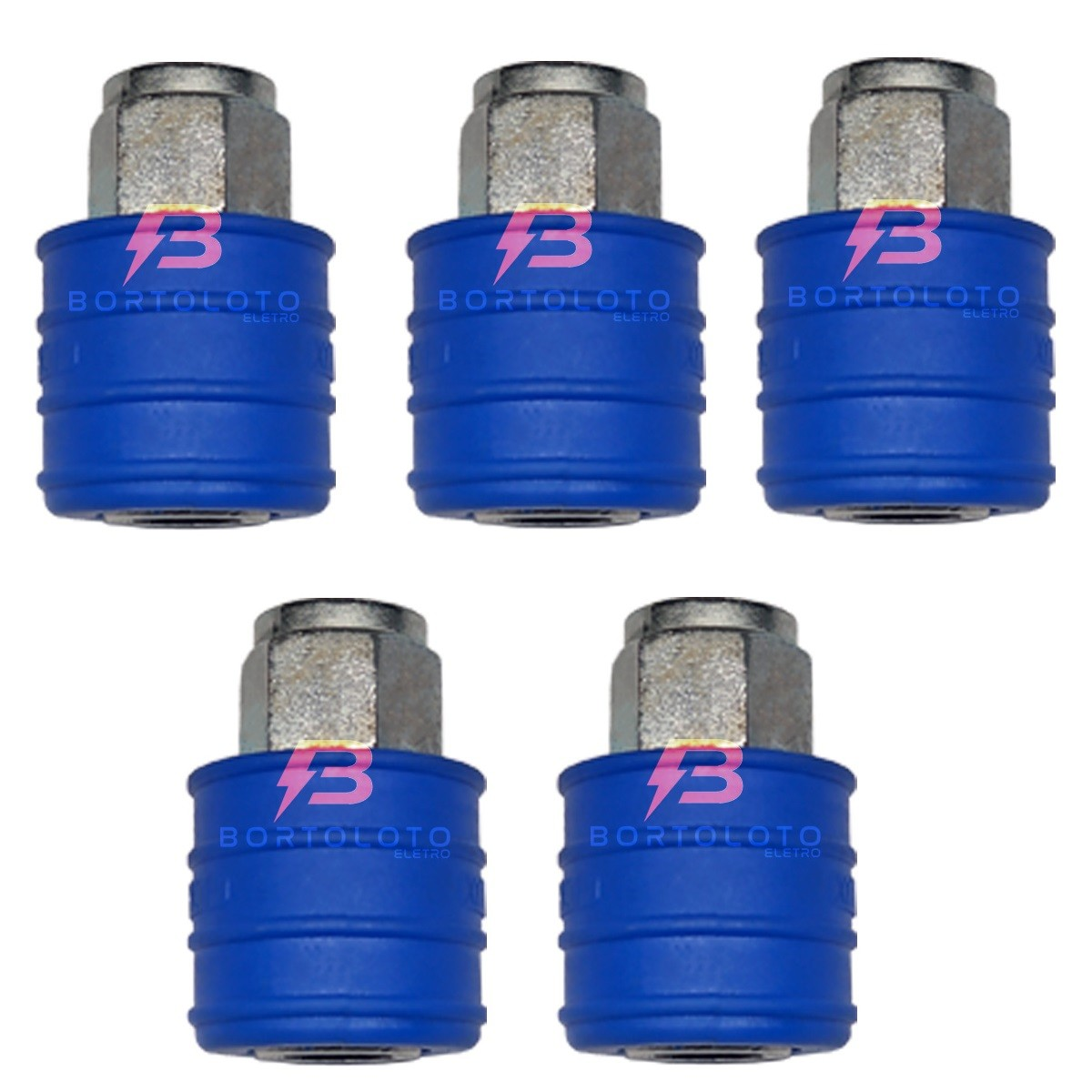 Engate Rápido De Ar 1/4 Polegadas Azul Fêmea Para Compressor kit 5pçs
