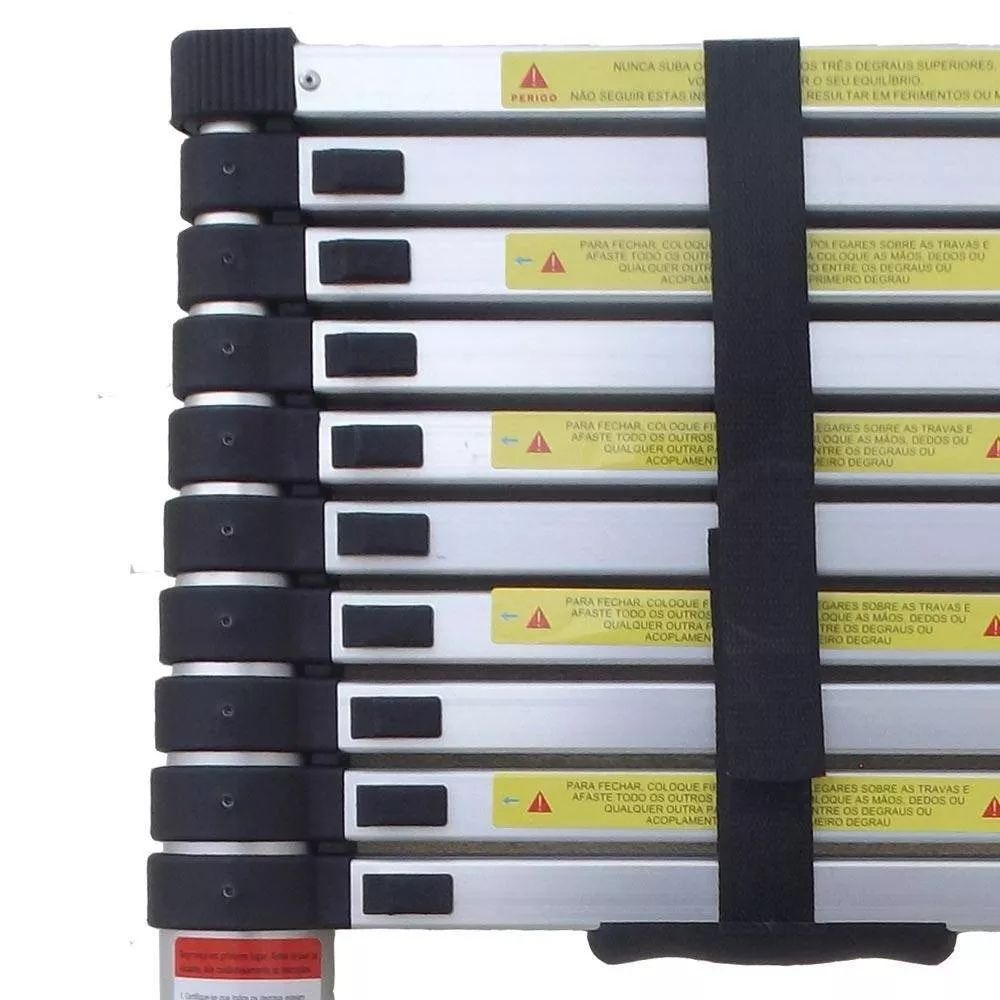 Escada Alumínio Telescópica 10 Degraus 3,15m Estendida