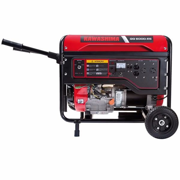 Gerador De Energia 6000w À Gasolina Monofásico 110/220V GG6000-ES Partida Elétrica Kawashima