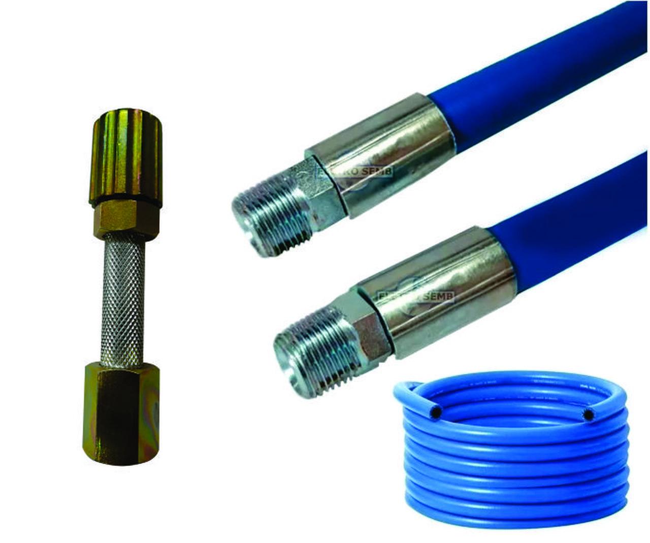 Mangueira Lava Rápido Jato Car Azul Lavadora Alta Pressão 15m Conexão 1/2 Prensado Com Esguicho Metal 3,2mm