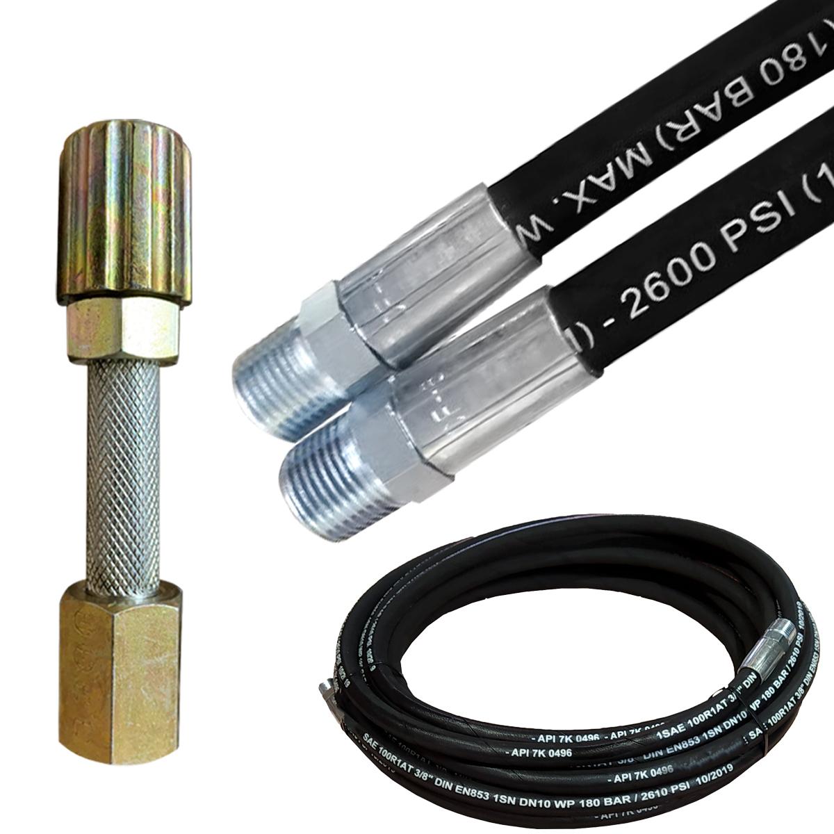 Mangueira de Auto Posto Lava Jato 3/8 Trama de Aço Super Flexível Com Esguicho Metal 3,2mm 10 Metros