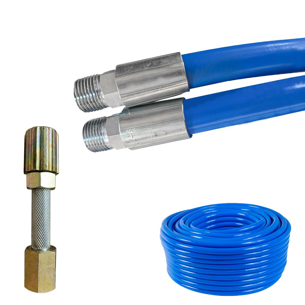 Mangueira Lava Rápido Jato Car Azul Lavadora Alta Pressão 10m Conexão 1/2 Prensado Com Esguicho Metal 3,2mm