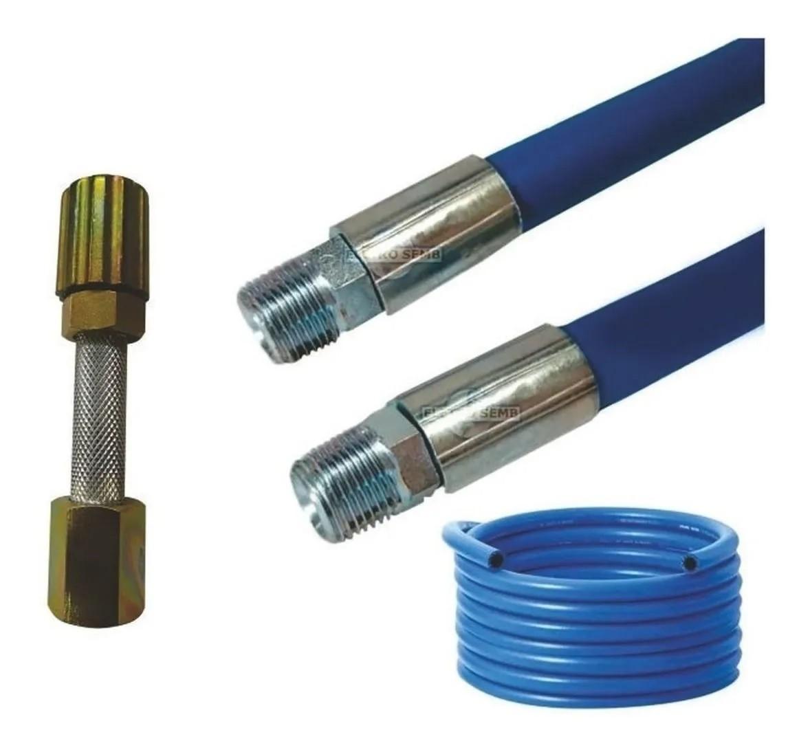 Mangueira Lava Rápido Jato Car Azul Lavadora Alta Pressão 40m Conexão 1/2 Prensado Com Esguicho Metal 3,2mm