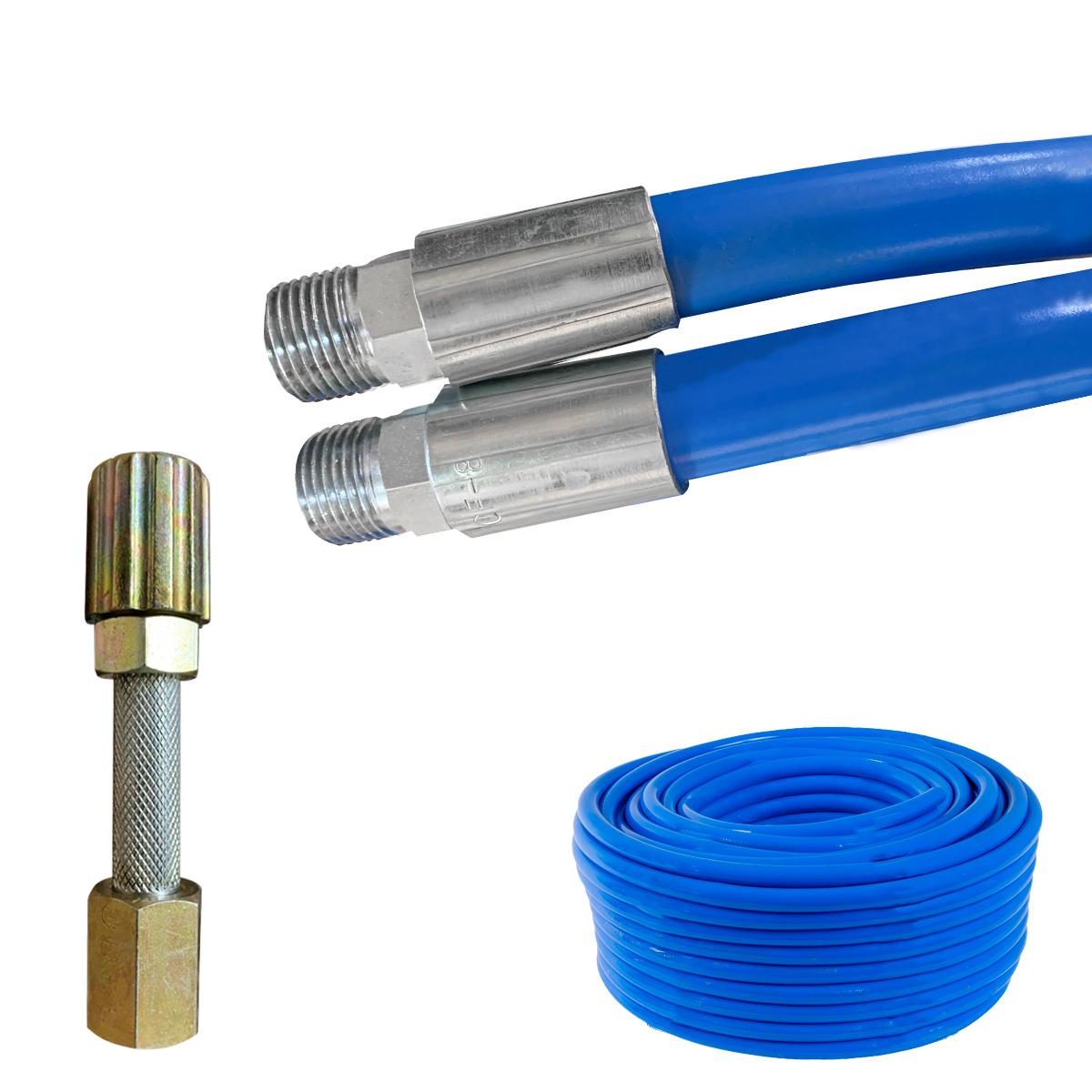 Mangueira Lava Rápido Jato Car Azul Lavadora Alta Pressão Conexão 1/2 Prensado Com Esguicho Metal 3,2mm