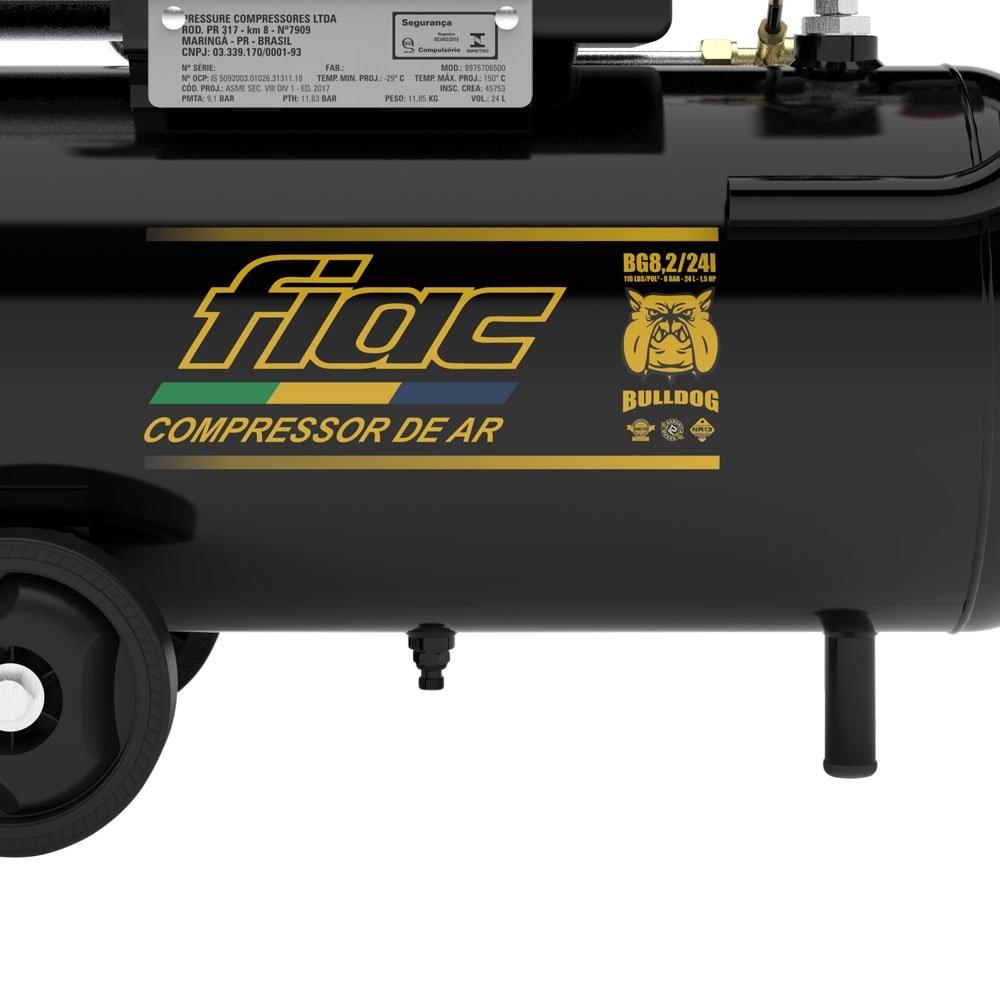 Moto Compressor De Ar Bulldog 1,5cv 8,2 Pés 24 Litros - Fiac 110V